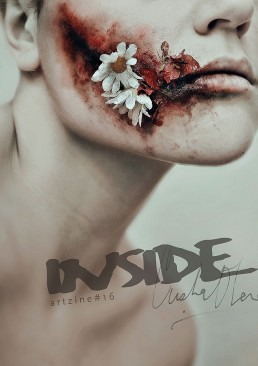 INSIDE artzine 16, cover, wounded face, dark art