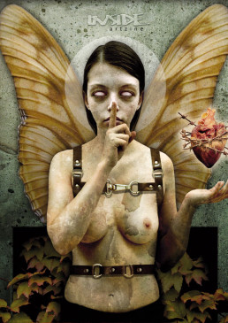 INSIDE artzine 11, cover, fabrice lavollay, france, naked boob, heart in barbwire, silence, no eyes, dark art magazine