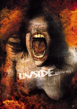 INSIDE artzine 13, cover, Dan Verkys, Australia, screaming woman, fire, dark art magazine