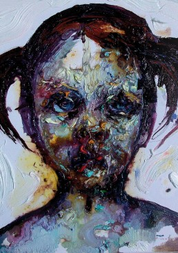 INSIDE artzine 21, Chtistina Tzani. Child, thick paint, Dark Art