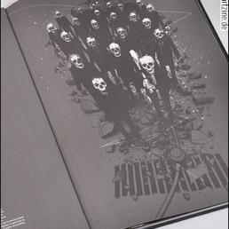 pages, artbook, black and white, skulls, baseball bat, artscum