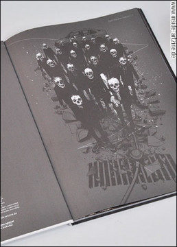 pages, artbook, black and white, skulls, baseball bat, artscum