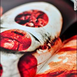 pages, absumaniac, blood, face, artscum, dark art magazine