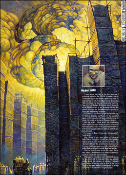 Michael Hutter, Germany, painter, interview, burning city, dark art magazine