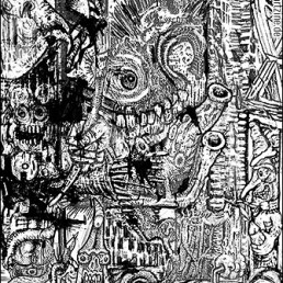 Ink drawing, black and white, chaotic