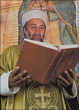 Osama Bin Laden reading the bible, church, political collage, dark art magazine
