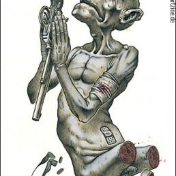 prayer, pistole, blind, chopped of legs, relgion means violence, dark art magazine