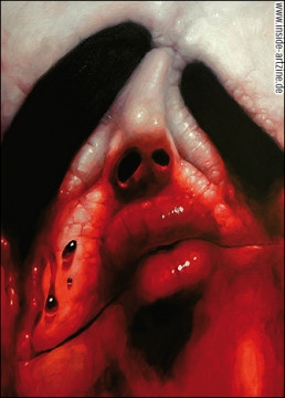 oil painting of a melting face, self portrait, kiss, lips, blood, artscum