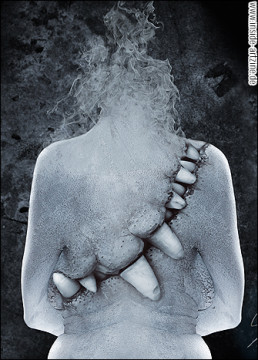 Victor Slepushkin, Russia, digital maniputlation, tooth, smoke, back, dark art magazine