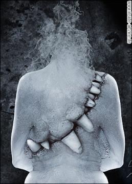 Victor Slepushkin, Russia, digital maniputlation, tooth, smoke, back, dark art magazine