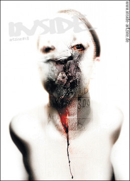 Cover INSIDE artzine 18, Absumaniac, Poland, smashed face, blod, uglyness, dark art magazine