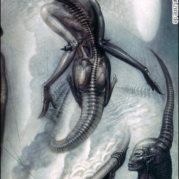 H.R. Giger, Switzerland, airbrush, spine, maggots, fog, artscum, dark art magazine