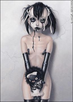 Trevor Brown, Japan, illustration, naked girl, puppet, fetish