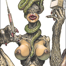 Piercarlo Carella, Italy, the madness of beauty operations, drawing, bizarre, beuaty, needle, snake, breasts, iNose, Dark Art Magazine