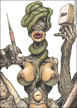 Piercarlo Carella, Italy, the madness of beauty operations, drawing, bizarre, beuaty, needle, snake, breasts, iNose, Dark Art Magazine