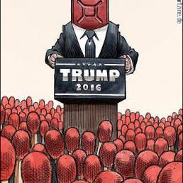 Aaron Paul Rogers, USA, caricature, Donald Trump, gasoline, firestarter, art scum, dark art magazine