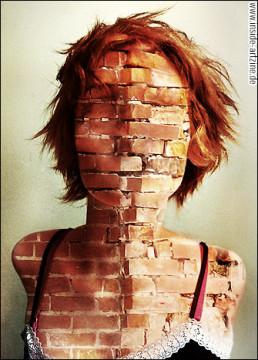 Richard G. Davis, South Africa, photo manipulation, female, red hair, bricks, artscum