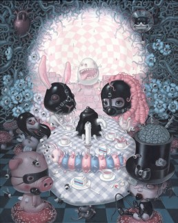 Trevor Brown, Japan, illustration, girl, optical illusion, skull, bunny, picknick, garden, fetish, dark art magazine