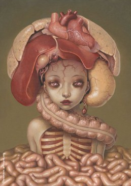 Trevor Brown, Japan, illustration, girl, guts, heart, lung, liver, rips