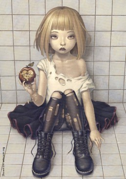 Trevor Brown, Japan, illustration, girl, boots, rotten appele, worms, blond hair, artscum