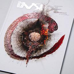 cover INSIDE artzine 20, jenz dieckmann, overlaod, brain and blood, relief lacque, dark art magazine