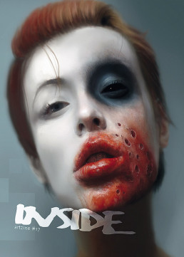cober, INSIDE artzine 17, Karl-Johan Utte Thole, Sweden, digital painting, female face, blood, red lips, pale