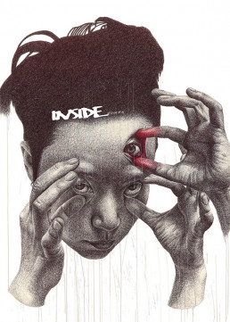 Cover, INSIDE artzine 19, Seungyea Park, South Korea, open the third eye,drawing, three eyes, three hands, dark art magazine