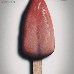 Cover, INSIDE artzine #21, Oliver Marinkoski, photo manipulation, tongue ice cream, artscum, dark art magazine