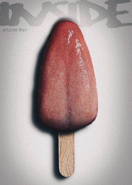 Cover, INSIDE artzine #21, Oliver Marinkoski, photo manipulation, tongue ice cream, artscum, dark art magazine
