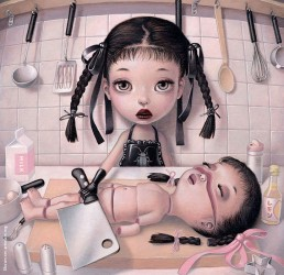 Trevor Brown, Japan, illustration, childs, pigtails, chopper, butchery, kitchen, dark art magazine