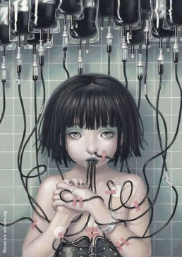 Trevor Brown, Japan, illustration, infusion, black blood, child, sucking, eyes, artscum
