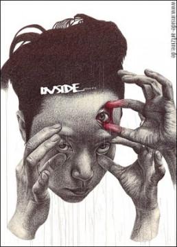 Cover, INSIDE artzine 19, Seungyea Park, South Korea, drawing, three eyes, three hands