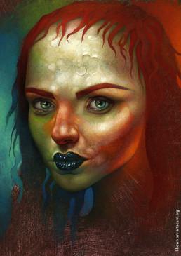 Chris Mars, painter, The Replacements, USA, sureal art, oli painting, schitzophrenia, portrait, female, black lips, green eyes