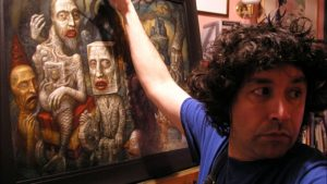 Chris Mars, painer, infront of one of his masterpieces, dark art