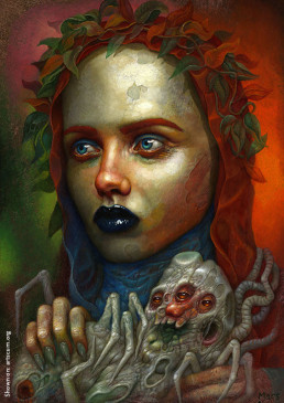 Chris Mars, painter, The Replacements, USA, sureal art, oli painting, schitzophrenia, portrait, female, scarry, black lips, dark art magazine