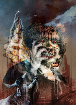 Joseph D. Myers, USA, classic collages, R.I.P., bizzare, grotesque, depression, tooth, starry eyes, butterflies