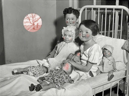 Joseph D. Myers, USA, classic collages, R.I.P., bizzare, grotesque, depression, children has the faces of their puppets, bed, puppets, black and white, nightmare, dark art magazine