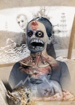 Joseph D. Myers, USA, classic collages, R.I.P., bizzare, grotesque, depression, portrait, female, deformation, eyes