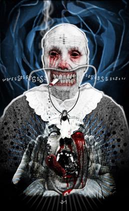 Joseph D. Myers, USA, classic collages, R.I.P., bizzare, grotesque, depression, cigarette, clown, smoking, scream, dark art magazine