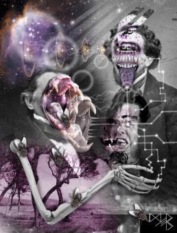 Joseph D. Myers, classic collages, R.I.P., bizzare, grotesque, depression, space, tooth, dark art magazine