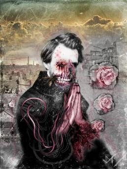 Joseph D. Myers, classic collages, R.I.P., bizzare, grotesque, depression, pray, prayer, worms, artscum