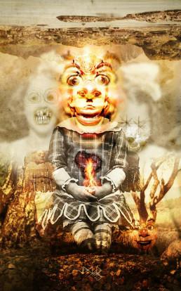 Joseph D. Myers, classic collages, R.I.P., bizzare, grotesque, depression, child, fire, nightmare, artscum