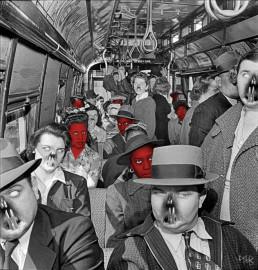 Joseph D. Myers, classic collages, R.I.P., bizzare, grotesque, depression, bus, rat tooth, passengers, artscum, dark art magazine