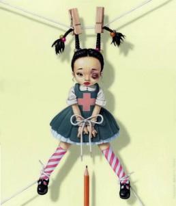 Trevor Brown, girl hanging at pigtails, dark art