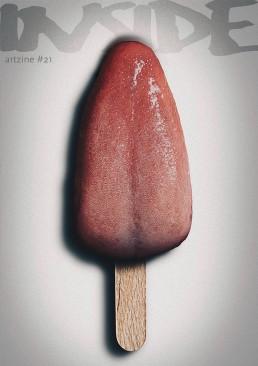 INSIDE artzine 21 cover, tounge, ice, dark art