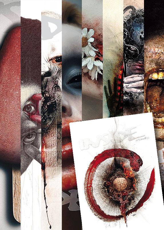 INSIDE artzine Cover number 13, 14, 15, 16, 17, 18, 19, 20 and 21, special offer, magazine bundle, dark art magazine