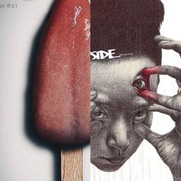INSIDE artzine Cover number 19 and 21, special offer, magazine bundle, dark art magazine