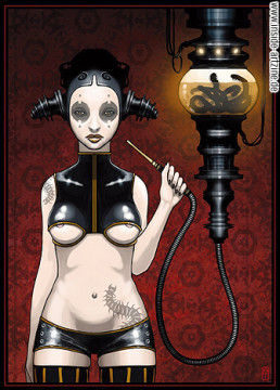 Axel Torvenius, Sweden, illustration, naked, fetish, smoking worms out of a waterpipe, dark art magazine