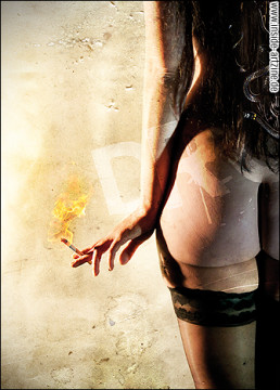 jenz dieckmann, photography, nacked girl smoking a cigarette showing her ass, dark art magazine