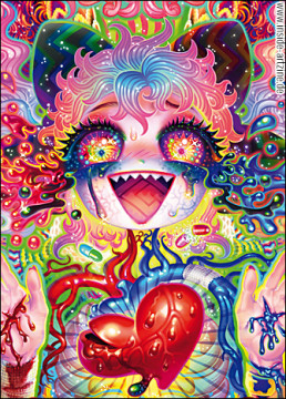 Yukaman, Japan, LSD, heart, illustration, color explosion, artscum